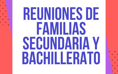 Reuniones iniciales con familias E. Secundaria y Bachillerato